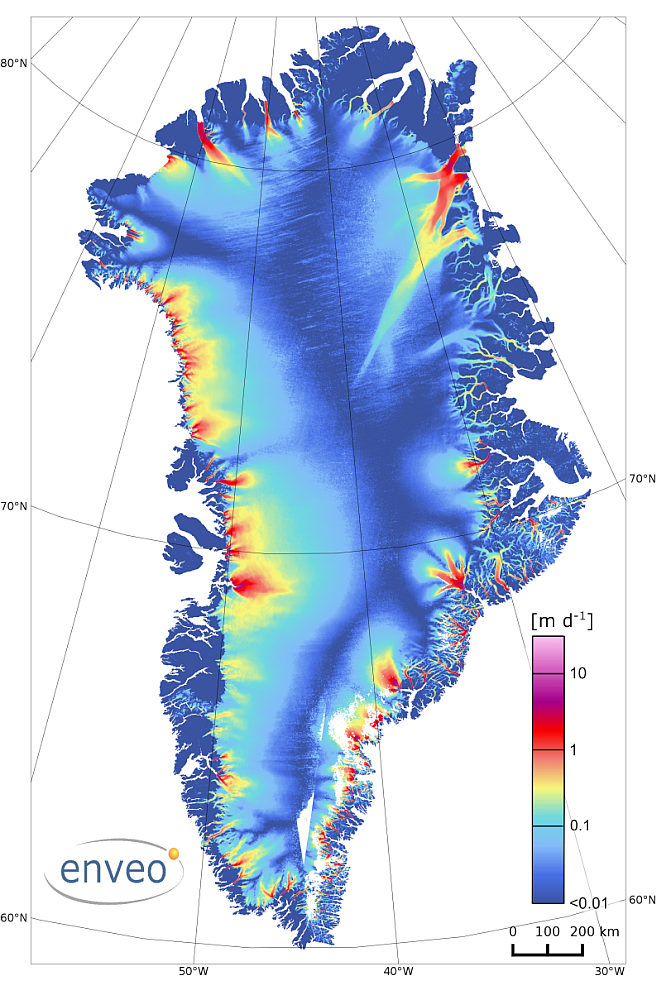 Greenland Ice Velocity from Sentinel-1